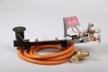 Gasbrennerset 1-Flammig mit Piezozündung 14kW  Mit Druckminderer mit SBS 1,5Bar/4kg und Schlauch 2,5m