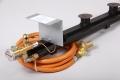 Powergasbrennerset 3-Flammig mit Zündleiste 43,4kW bei 1.5bar  Mit Druckminderer mit SBS 1,5Bar/4kg und Schlauch 2,5m